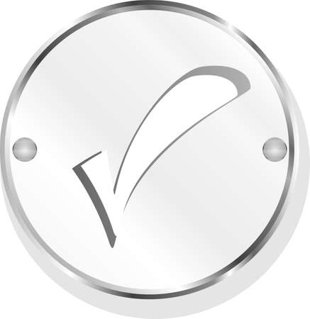 Check mark or yes icon on round stainless steel modern industrial button Stock Photo - 18218697