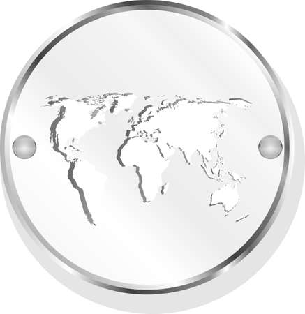 metal button with world map photo