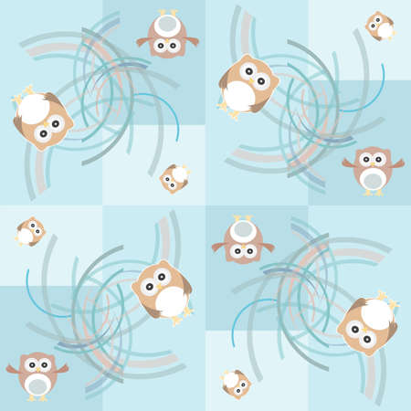 Seamless pattern with owl and birds for kids photo