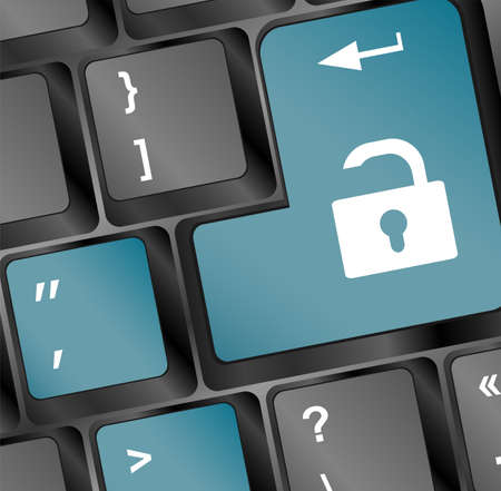 Open lock button on the keyboard, access concept Stock Photo - 18259990