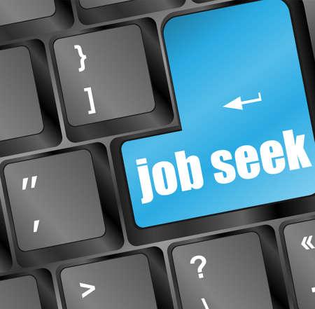 Keyboard with blue enter button job seek Stock Photo - 18259999