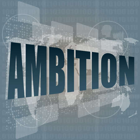 ambition word on blue digital touch background photo