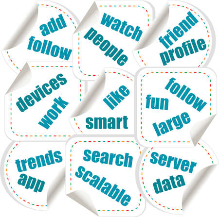 Social media concept in word tag stickers Stock Photo - 18364610