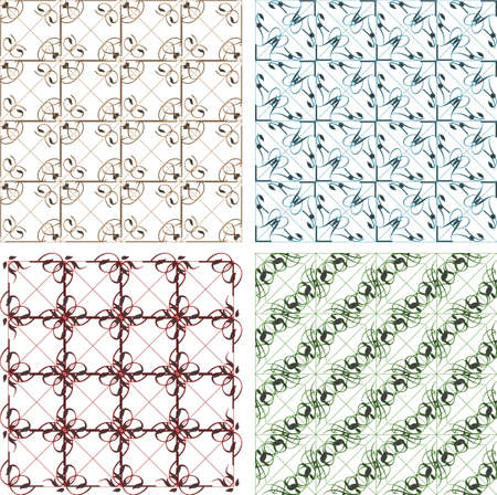 seamless vintage backgrounds set brown baroque pattern set Stock Photo - 18364683