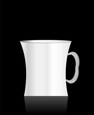 white cup on a black background Stock Photo - 18364460