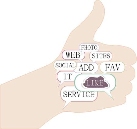 thumb up - hand like social theme Stock Photo - 18364482