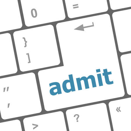 admit: admit sign button on keyboard with soft focus Stock Photo