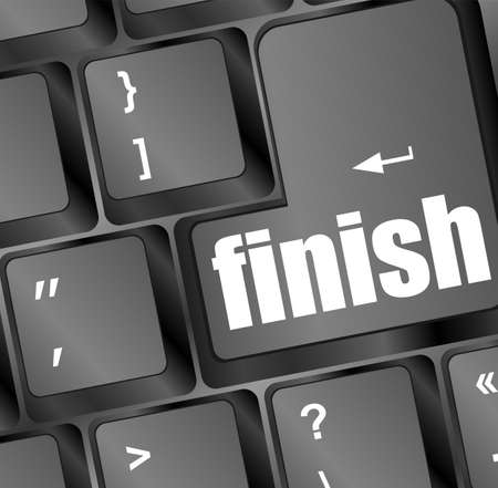 finish button on black internet computer keyboard Stock Photo - 18408968