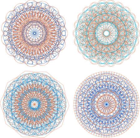 indium: A set of beautiful mandalas and lace circles Stock Photo