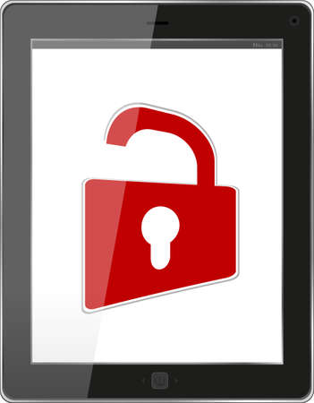 Mobile Security concept. Tablet PC with Lock on a white background Stock Photo - 18419323