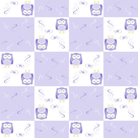 Cute blue seamless owl background patten for kids photo