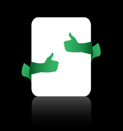 Thumb up like hand sign ???? empty card on black background Stock Photo - 18515835