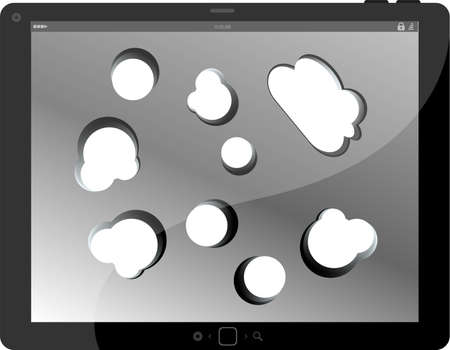 speech bubble on black tablet pc social, network concept photo