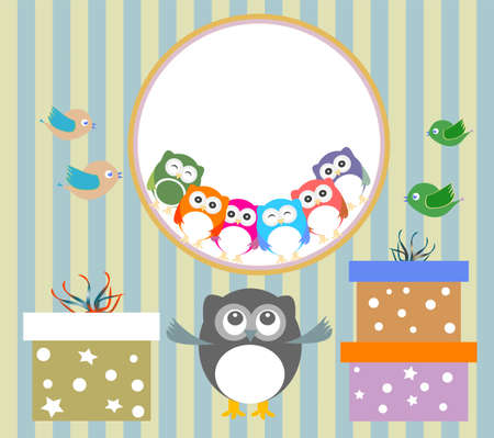 birthday party elements with cute owls and birds photo