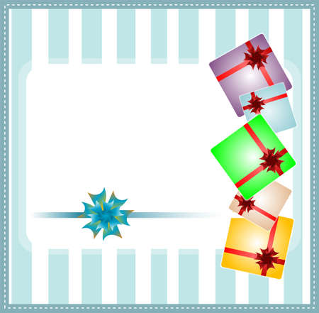 Holiday background with blue gift bow and gift boxes photo