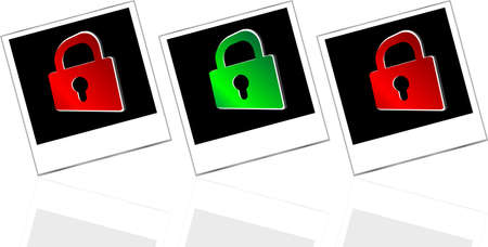 Set of empty photos and padlock on abstract white background photo