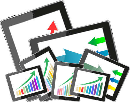 dimensionally: Tablet pc and business graph on the screen. 3d Stock Photo