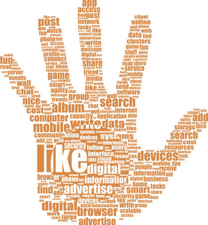 hand with word like - social media and network concept Stock Photo - 18643708