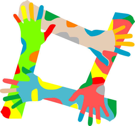 Multicolored hands isolated on a white background photo