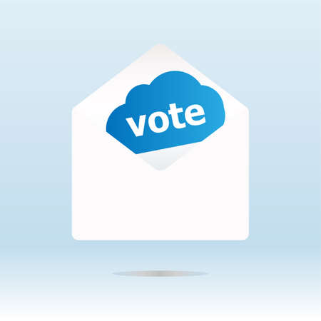 cover envelope with vote text on blue cloud Stock Photo - 18643908