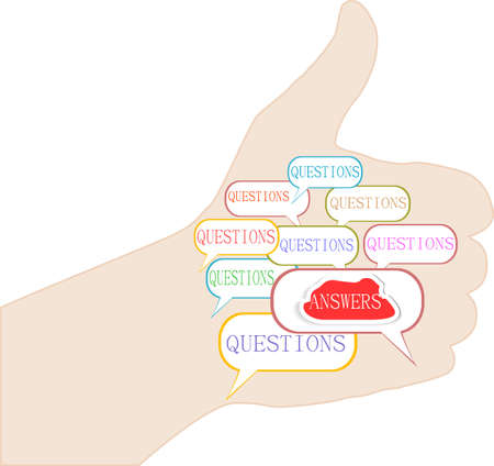Human hand with question concept of an answer to a question Stock Photo - 18643932