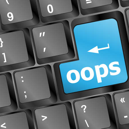 The word oops on a computer keyboard Stock Photo