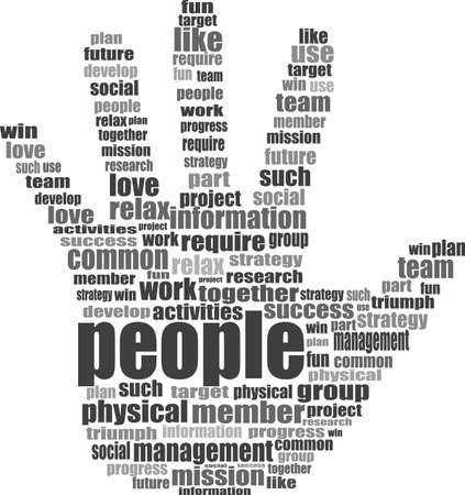Like hand symbol with tag cloud of social word photo