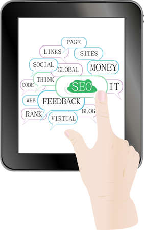 tablet pc with cloud and tags on social engine optimization theme Stock Photo - 18802311