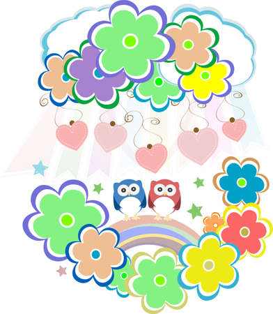 Cute valentine owls, birds, flowers and love hearts Stock Photo - 18802349