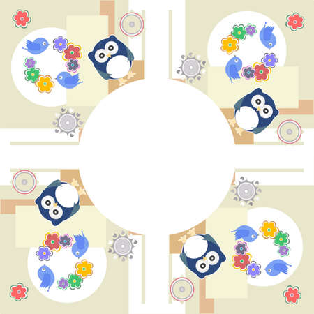 Seamless retro flowers owl bird kids illustration background pattern illustration