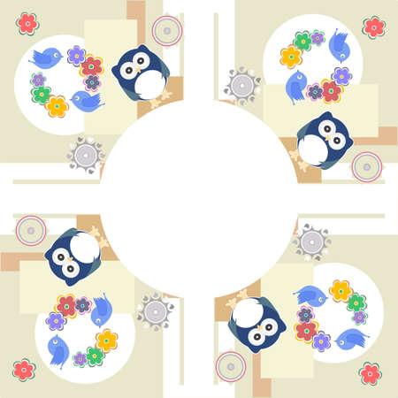 Seamless retro flowers owl bird kids illustration background pattern illustration