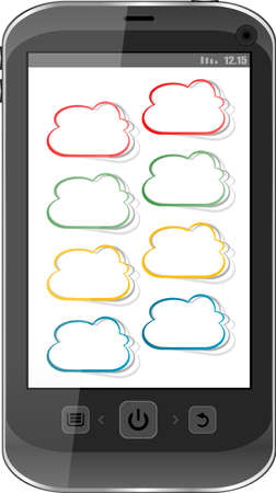 Cloud computing concept. Mobile phone with cloud icon Stock Photo - 18802317