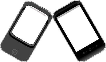 Black smartphone set isolated on white background Stock Photo - 18802315