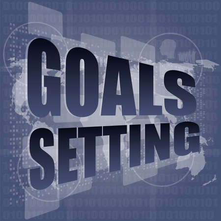 setting goals: Goal setting concept - business touching screen Stock Photo