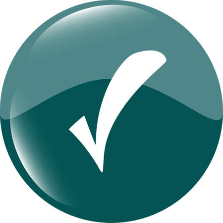 Green glossy web button with check mark sign. Rounded square shape icon Stock Photo - 19056796