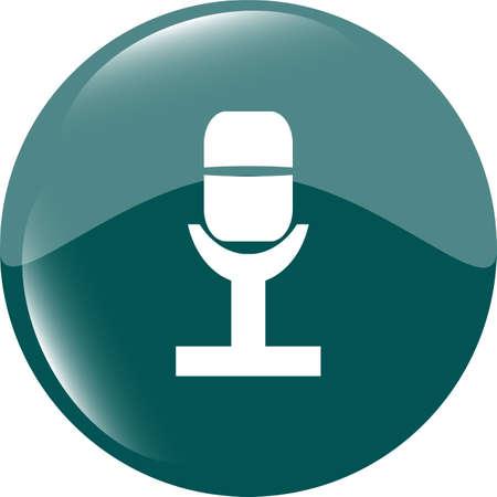 Retro microphone icon glossy button photo