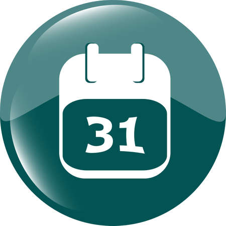 calendar apps icon glossy button. day 31 photo