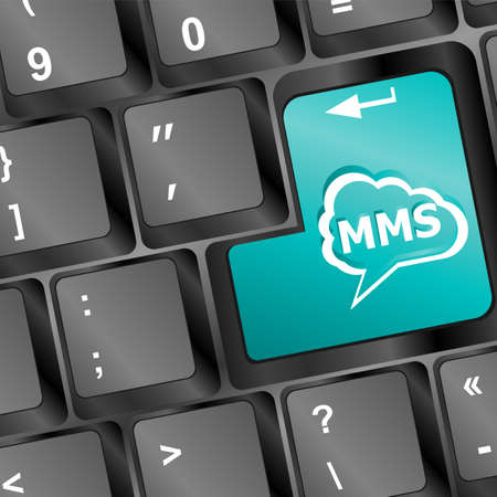 Social media key with mms text on laptop keyboard photo