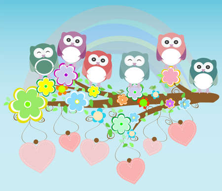 owls birds and love heart tree branch photo