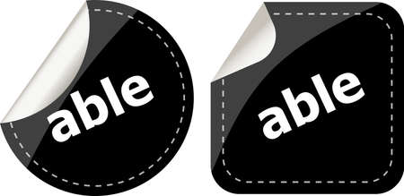 able: able word black stickers set icon button Stock Photo