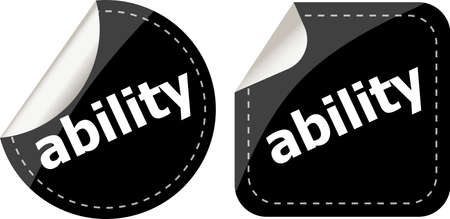 extramural: ability word black stickers set icon button Stock Photo