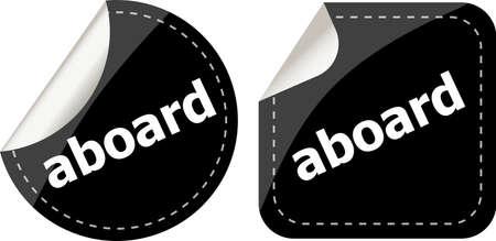 receptive: aboard word black stickers set icon button