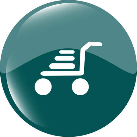 Shopping cart icon on round internet button original illustration Stock Illustration - 19099810