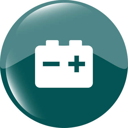 battery round web glossy icon button Stock Photo - 19099727