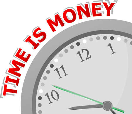 money time: Time is money, horloge isol� avec l'ic�ne de temps de l'argent