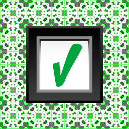 Tick symbol on green folded sticker background design Stock Photo - 19126352