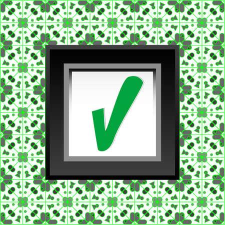 Tick symbol on green folded sticker background design Stock Photo - 19126352
