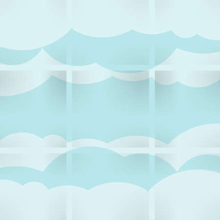 Abstract speech bubbles in the shape of clouds used in a social networks on light blue background photo