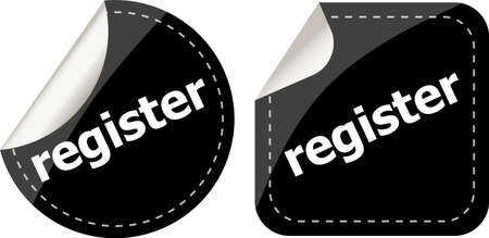 register black stickers set, icon button photo