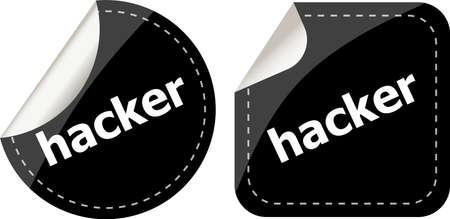 break in: black hacker stickers set on white, icon button Stock Photo